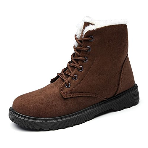 Womens Winter Warm Faux Suede Lace Up Snow Boots Flat Platform Sneakers Brown RqSl0hwOA
