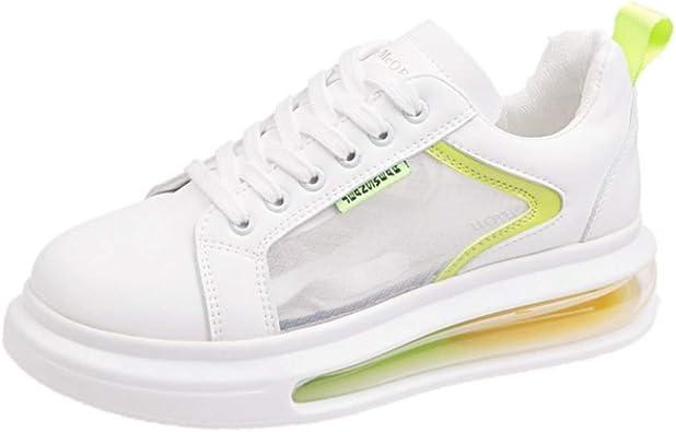 Zapatillas de Deporte de Plataforma para Mujer Malla Transpirable de Moda Impermeable PU con Cordones Low Top Casual Zapatos Blancos Summer Air Cushion Ladies Running Shoes: Amazon.es: Zapatos y complementos