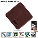 [4-Pack] - Microfiber Screen Cleaner Sticker; Screen Cleaner Cloth; Screen Cleaner Sticker for IPAD iPhone Camera Glasses; 4-in-1; Large Size: 1.6 x 1.6 inches (4cm x 4cm) (Coffee)