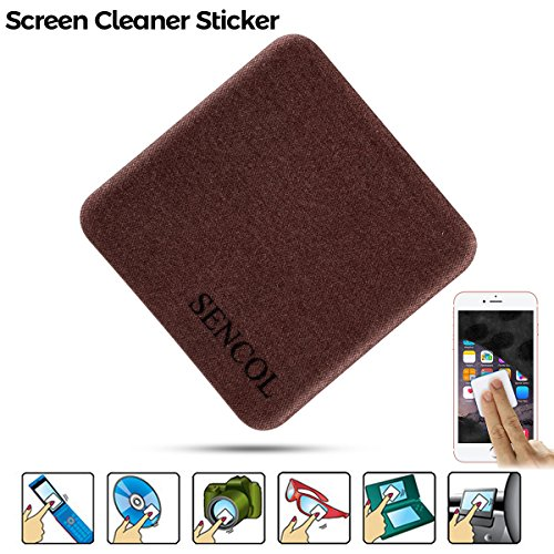 [4-Pack] - Microfiber Screen Cleaner Sticker; Screen Cleaner Cloth; Screen Cleaner Sticker for IPAD iPhone Camera Glasses; 4-in-1; Large Size: 1.6 x 1.6 inches (4cm x 4cm) (Coffee) by SENCOL