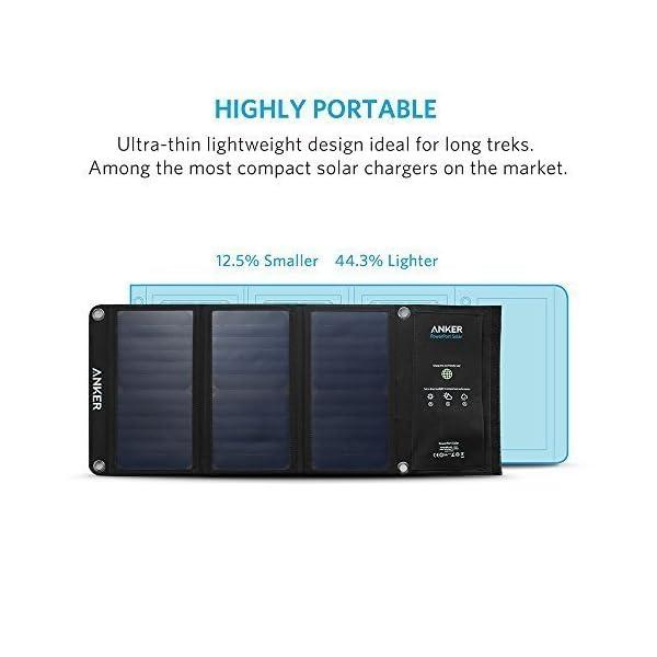 CARGADOR SOLAR ANKER 21W DUAL USB, PUERTO DE PODER SOLAR para iPhone 7/6s/Plus, iPad Pro/Air 2/mini, Galaxy S7/S6/Edge/Plus, Note 5/4, LG, Nexus, HTC y más