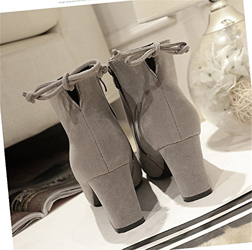 Damen Blockabsatz Stiefe - Veloursleder-Optik Zipper Ankle Boots Winter Warm Mode Einfarbig Stiefel Schuhe Grau