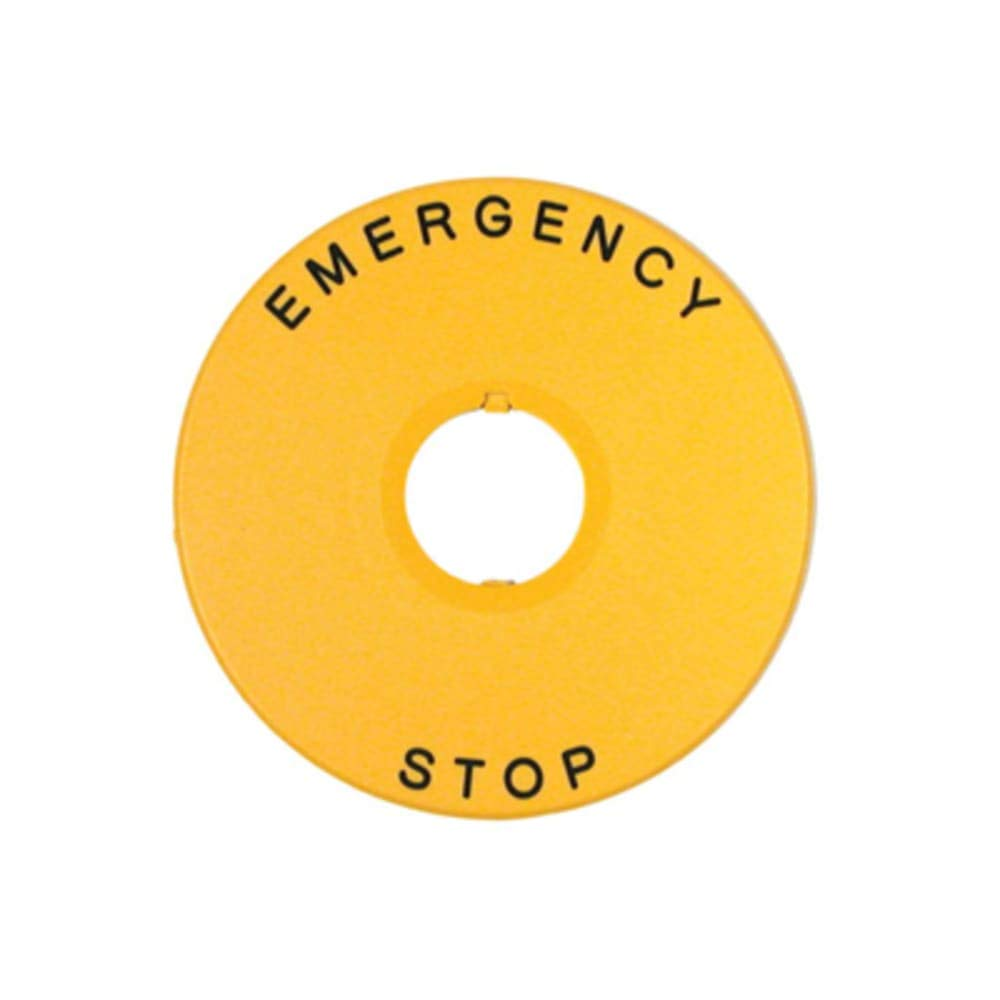 Nameplate; Sticker nameplate with Emergency Stop printed Pack of 5