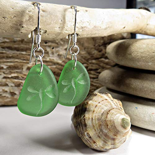 Dragonfly Natural Sea Glass Earrings - Beach Jewelry For Women - Seaglass Jewelry Beach Lover Gift - 925 Sterling Silver