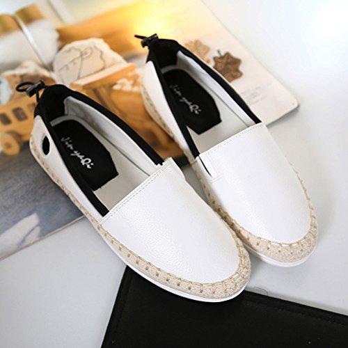 Minivog Mujeres Round Toe Sneakers Platform Flats Slip De Cuero En Mocasines Blancos