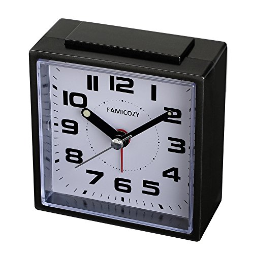 FAMICOZY Small Alarm Clock,Quiet Non Ticking with Snooze and Backlight,Crescendo Alarm,Big Numbers for Easy Reading,Analog Quartz Alarm Clock for Bedside Nightstand,Battery Operated,Black