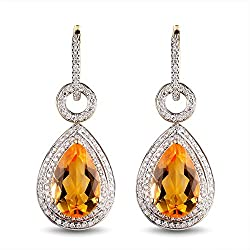 Natural Tourmaline Citirine Drop Earrings for Women