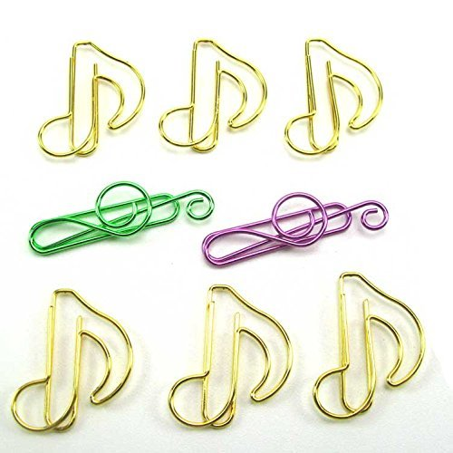 Coolrunner Creative bright color musical note shaped paper clip lovely music symbol shape paper clip (100pcs)