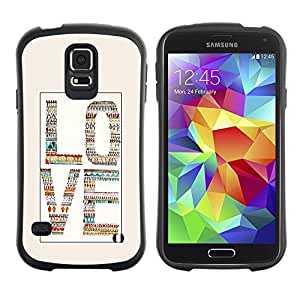 """Pulsar iFace Series Tpu silicona Carcasa Funda Case para Samsung Galaxy S5 , Amor Beige Blanco Texto de guata de Cartas"""""""