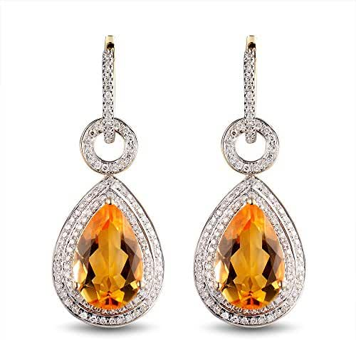 Best Gift 14Kt Yellow Gold Diamond Yellow Citrine Wedding Earrings Pure Gold Pear for women