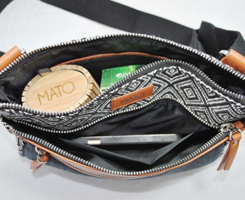 76cf912510 Mato Boho Crossbody Bag Travel Canvas Side Purse Bohemian Geometric Woven  Pattern Vegan Leather Trim