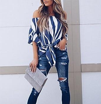 SKNSM Estilo de dama Camisa de chifón estampada con manga trompeta en hombros descubiertos para mujer azul oscuro (XL) para camisetas y blusas para mujer ...