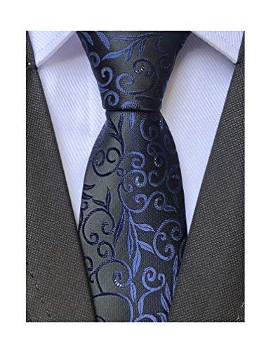 Women Boys Navy Blue Designer Jacquard Silk Tie Gift for Men Formal Self Necktie ()