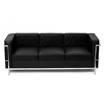 Artis Decor Le Corbusier Style Chair LC2   Genuine Leather (Black Sofa)