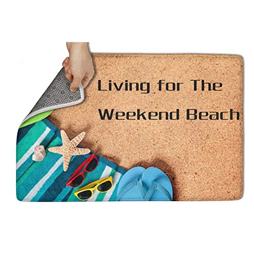 NEWBEGINer Entrance Door mat Living for The Weekend Beach Welcome Mats Colorful Rugs Doormat