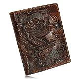 Aequeen Men Genuine Leather Dragon Long Short Wallet Coin Money Card Holder Clutch Vertical Medium