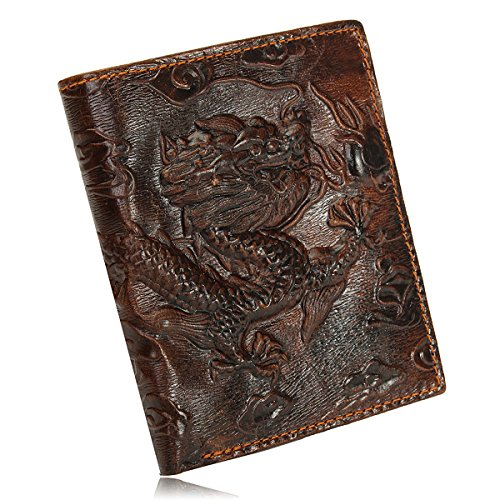 OURBAG Men's Genuine Leather Business Vertica Bifold Wallet Purse Dragon Pattern