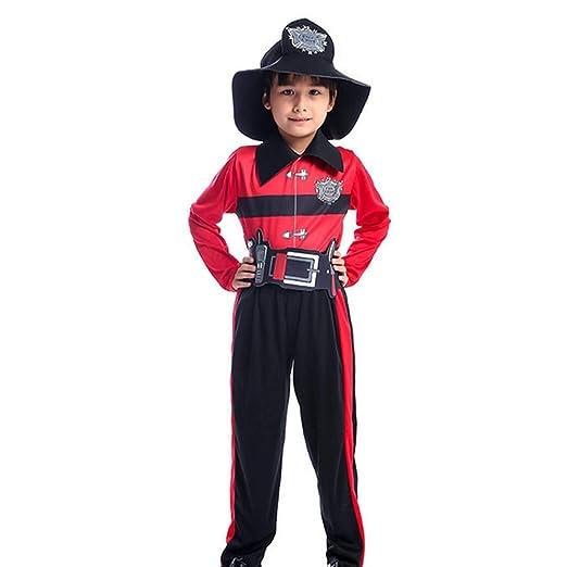 GUAN Niño pequeño Bombero Profesional Cosplay Uniforme niño Fiesta ...
