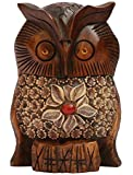 SouvNear Great Horned Owl Statue - Cute Little Lucky Owl Statuette - Wooden Owl Figurines & Statues/Decorative Red Bead Floral & Leaf Motifs - Animal Art - Home Decor Accessories