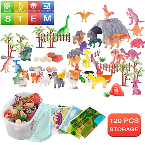 120 Piece Dinosaur Animals Toy Figure Playsets:20 Dinosaurs 20 Poultry 20 Wild Animals + 3 Playmat 57 Rocks & Trees + Storage box   Birthday Party Gifts for Kids Boys Girls 3 Year Old   3 Scene Fun