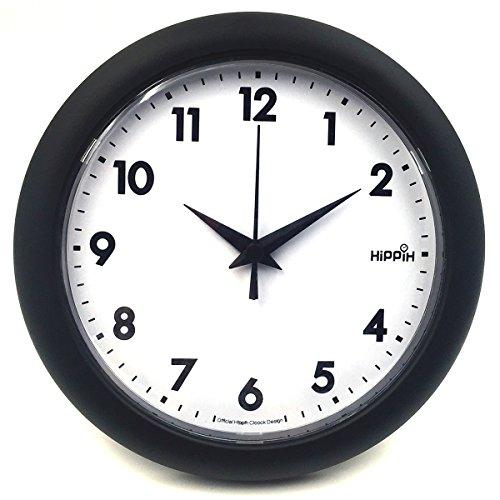 Hippih 10' Silent Quartz Decorative Wall Clock Non-ticking Black 249-A