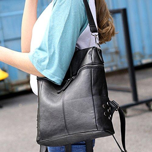 Rucksack Leather Backpack Ladies Shoulder Handbag Women Purse Black PU Bag Fashion Soft w0xqTZXH