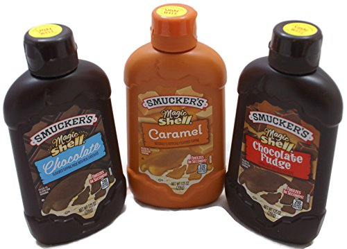 Variety Pack - Smuckers Magic Shell Ice Cream Topping (7.25 oz) Caramel, Chocolate, Chocolate (Chocolate Shell)