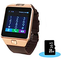 Aipker 1.56-Inch Touch Screen Smart Watch Phone with Camera and 16GB SD Card for Andriod SmartPhones - Golden