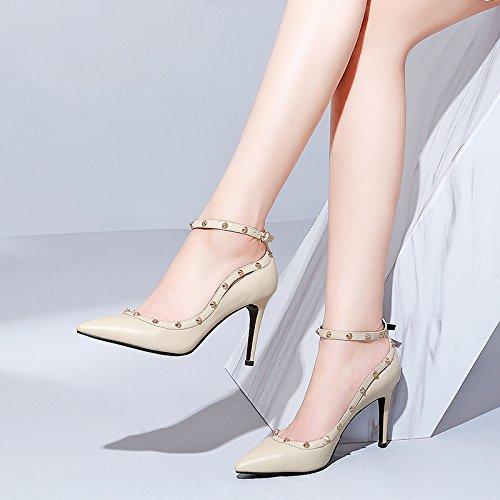 Fino Superficialmente Cabeza Tacón Afilado Lado Mujer Única ZHUDJ El Tacón rice Yellowish Vacía Zapato Primavera Recortado B5nqwzS