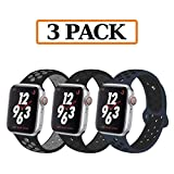 YC YANCH Greatou Compatible for Apple Watch Band 38mm 40mm,Soft Silicone Sport Band Replacement Wrist Strap Compatible for iWatch Apple Watch Series 4/3/2/1,Nike+,Sport,Edition,M/L,3 Pack