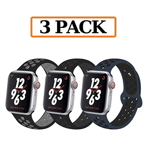Watch Wrist Tech Band - YC YANCH Greatou Compatible for Apple Watch Band 42mm 44mm,Soft Silicone Sport Band Replacement Wrist Strap Compatible for iWatch Apple Watch Series 4/3/2/1,Nike+,Sport,Edition,S/M,3 Pack