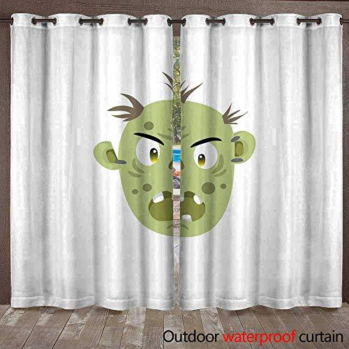 RenteriaDecor Outdoor Balcony Privacy Curtain Zombie Head Scary Spooky Emotion icon W84 x -