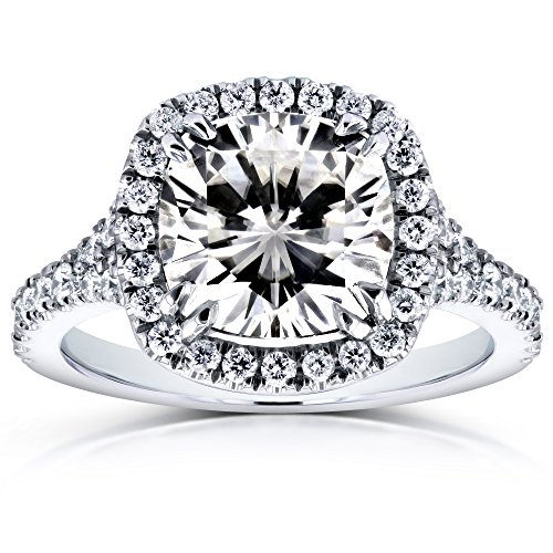 (Near-Colorless (F-G) Cushion Moissanite and Diamond Halo Cathedral Ring 3 1/3 CTW in 14k White Gold, Size 8.5)