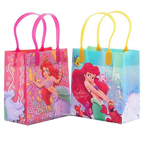 Disney Princess Little Mermaid Ariel Ocean Beauty Reusable Party Favor Goodie Small Gift Bags (12 Bags) (Little Mermaid Gift Bags)