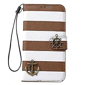 Susenstone(TM) 1PC Stripes Anchor Rudder PU Leather Wallet Flip Case Cover For Samsung Galaxy S5 i9600 (Brown)