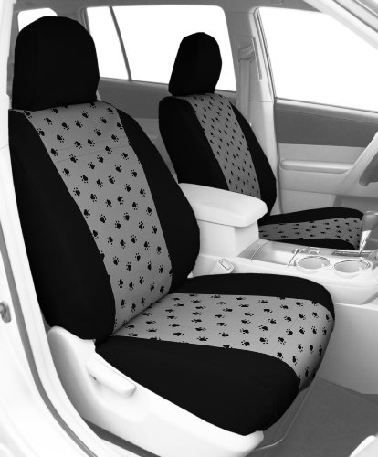 CalTrend Front Row Bucket Custom Fit Seat Cover for Select Subaru Forester Models - Pet Print (Light Grey Insert with Black Trim) -