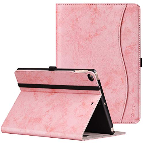 (Ztotop Case for New IPad 9.7 Inch 2018/2017,Premium PU Leather Business Slim Folding Stand Folio Cover with Auto Wake/Sleep,Pencil Holder and Multiple Viewing Angles,Mottled Pink)