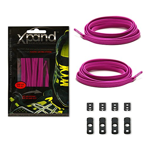 Xpand No Tie Shoelaces System with Elastic Laces - Magenta - One Size Fits All Adult and Kids Shoes