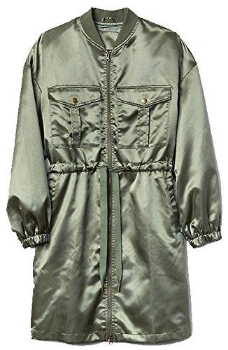 - GAP Womens Green Longline Satin Utility Jacket Medium