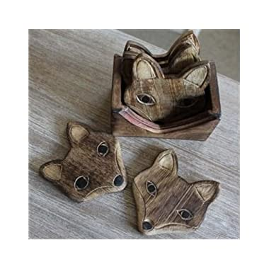 Fox Shaped Unique Adorable Wooden Coasters Set of 6 with Holder, Bar Dining Accessories