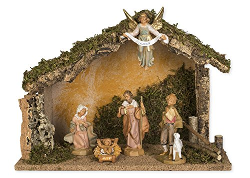 Fontanini 5 Piece Italian Christmas Nativity Set with Wooden Stable 54422 Italy by Roman
