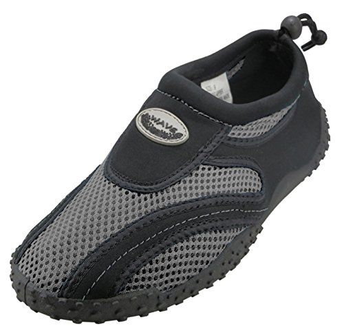 Cambridge Select Kids Mesh Quick Dry Slip-on Con Coulisse Antiscivolo Water Shoe (bimbo / Bimbo Grande) Nero / Grigio