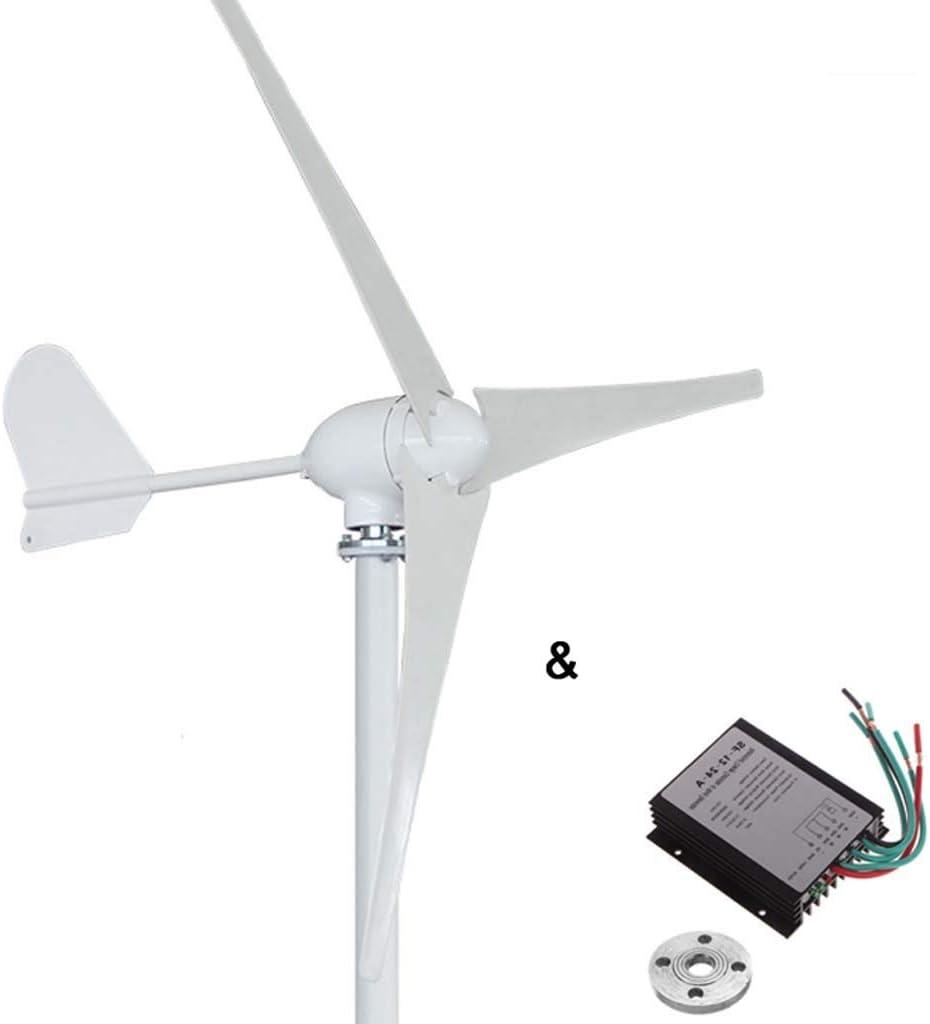 Turbina 500W horizontal del generador de viento 12V / 24V / 48V 3/5 palas de aerogeneradores uso en el hogar + 600w del regulador del cargador impermeable del viento (Voltage : 24V)