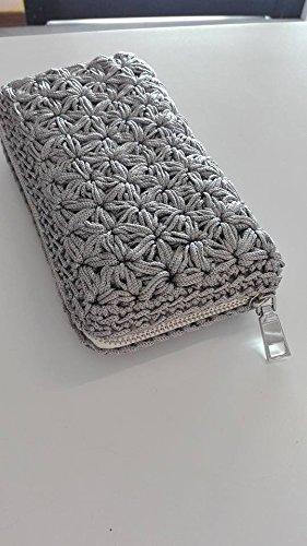 Portafogli Mini Pochette Da Sera Grigio Perle Elegante Ricoperto A