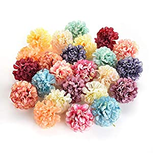 Flower heads in bulk wholesale for Crafts Artificial Silk Pompom Carnation Peony Fake Flowers Head Hydrangea Wedding Home Decoration DIY Scrapbooking Party Birthday Decor 30pcs 4.5cm 17