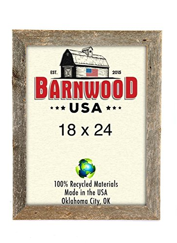 BarnwoodUSA Rustic 18 by 24 Wooden Picture Frame With 2 Inch Wide Molding - 100% Reclaimed Wood