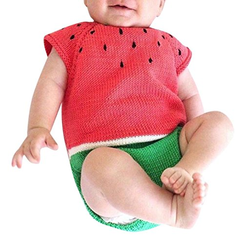 Toddler Baby Girls Boys Clothes Sets for 0-18 Months,Onesies Sleeveless Watermelon Siamese Knitted Romper Sweater Tops Outfit (0-3Months, Red)
