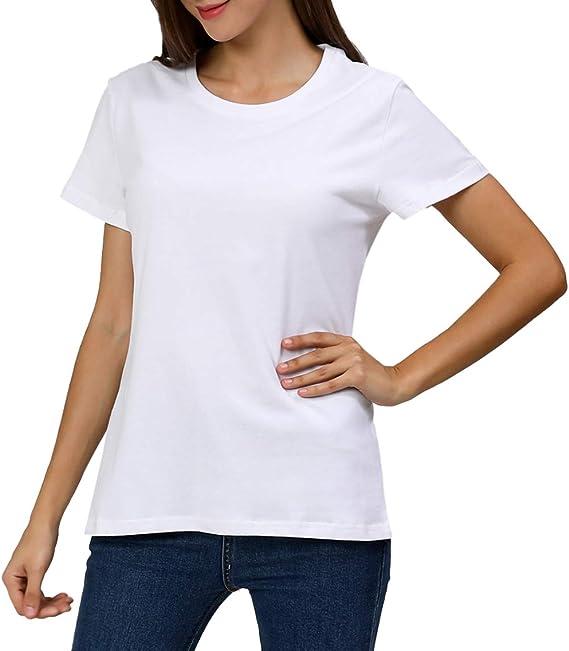 COSAVOROCK Camisetas de Manga Corta Grueso de Algodón para Mujer ...