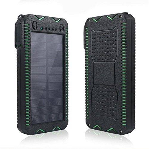 15000mAh Solar Charger with Cigarette Lighter Function Outdoor Camping Waterproof Power Bank Protable External Battery Dual LED Flashlight for iPhone iPad Cell Phones (Green)