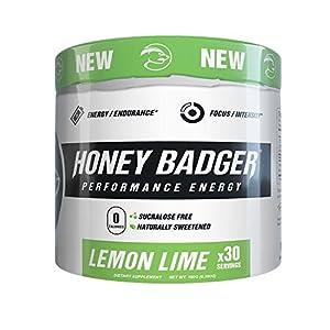 Honey Badger Natural Keto Pre Workout for Men & Women (Performance Energy, Paleo, Nitric Oxide, Amino Acids, Lemon Lime, 30 Servings, Vegan, Sugar Free, Sucralose Free, Naturally Flavored & Sweetened)